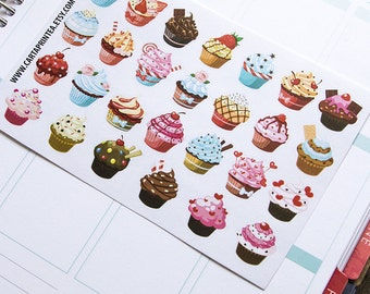 27 cupcake stickers, muffin sticker, baking stickers, baker food stickers, planner stickers, cake eclp filofax happy planner kikkik