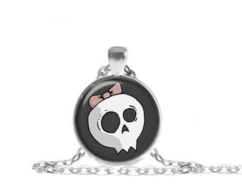 Cute Girl Skull Necklace, Cute Skull Pendant, Girl Skull Necklace with Chain
