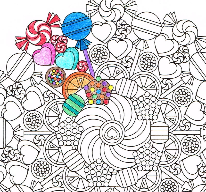 Mandala Coloring Page Round of Sweets printable coloring