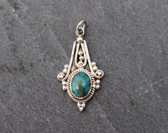 Copper Turquoise Pendant - Sterling Silver