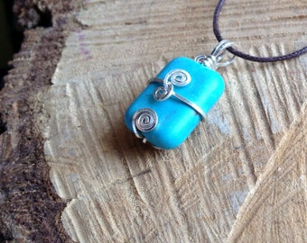 Blue Magnesite (dyed) Sterling Silver Pendant / Necklace