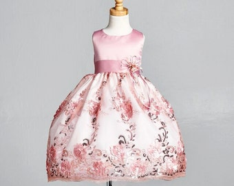 Flower Girl Bridesmaids Elegant NEW Embroidery Summer Easter Pageant Recital Toddler Girl Dress S M L XL 2 4 6 8 10 12 14