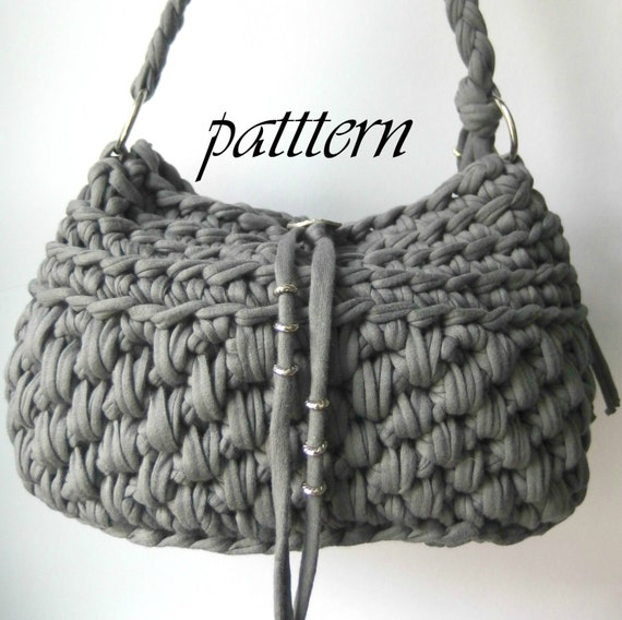 Crochet Patterns For T Shirt Yarn : Crochet pattern t shirt yarn handbag with by ...