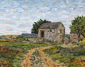 Farmhouse - St. Just. cornish rural landscape - Signed giclée print of original torn paper collage, contemporary fine art print