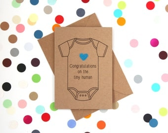 Funny new baby card, Funny baby card, Funny new parents card, Funny expecting card, Funny card: Congratulations on the tiny human