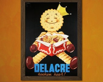 Delacre Cookie Print -  Vintage Kitchen Poster Beverage Drink Retro Wall Decor Office decoration Art Prin  t