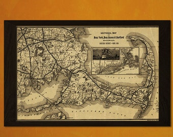 Old New York Map New Haven Hartford Railroad 1893 - Antique Map Retro Poster Old Prints Wall Decor Office decoration Vintaget