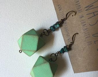 Turquoise and Mint Geo Earrings--Dangle Earrings