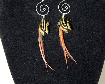 wire spiral feather earrings