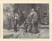 The Village Barber, original wood-engraved children's illustration, 1887
