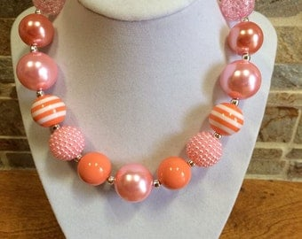 Bubblegum Necklace, Coral, Peach, Pink, Chunky Bubblegum Necklace, Chunky Bead Necklace, Girls Necklace, Gumball Necklace, Photo Prop