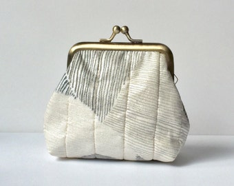 Metal Frame coin purse, minimalist mountain - small kiss lock, metallic silver, gray, Japanese fabric, Gamaguchi, small gifts