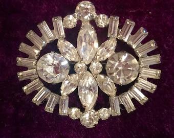 Weiss Vintage Rhinestone Brooch Signed, vintage brooch, vintage jewelry, someting old, wedding brooch, rhinestone brooch