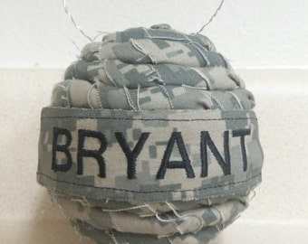 Personalized Name Tape ACU, ABU, NWU, Marpat Rope Ornament