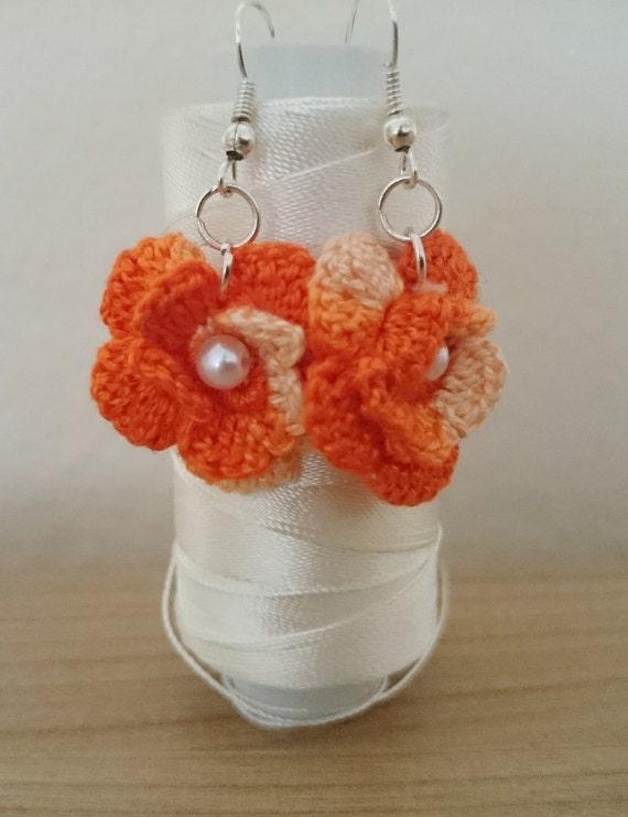 Orange crochet flower earrings by