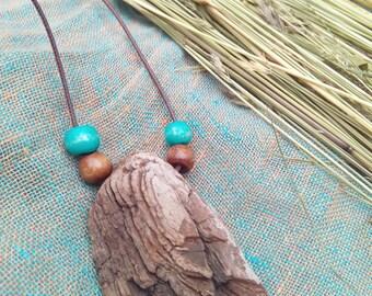 Driftwood pendant, everyday necklace, original natural boho rustic tribal pendant