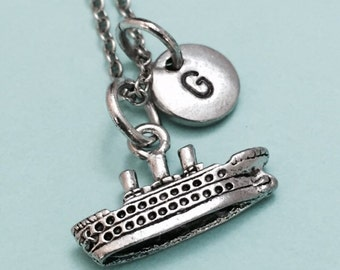Cruise ship necklace, cruise ship charm, nautical necklace, personalized necklace, initial necklace, initial charm, monogram
