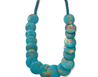 Gorgeous Turquoise and Brown Beaded Necklace