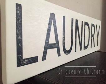Laundry Room Sign, Hand painted Laundry Sign, Laundry Room Decor, Black and White Laundry Room Sign
