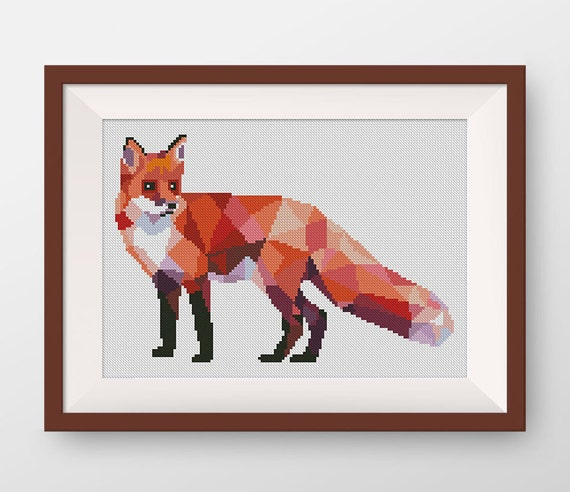 Geometric Fox Cross Stitch Pattern, PDF counted cross stitch pattern, P125