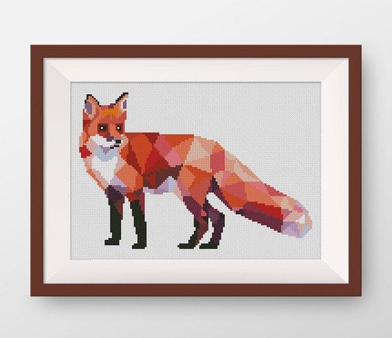 Geometric Fox Cross Stitch Pattern, PDF counted cross stitch pattern, P125