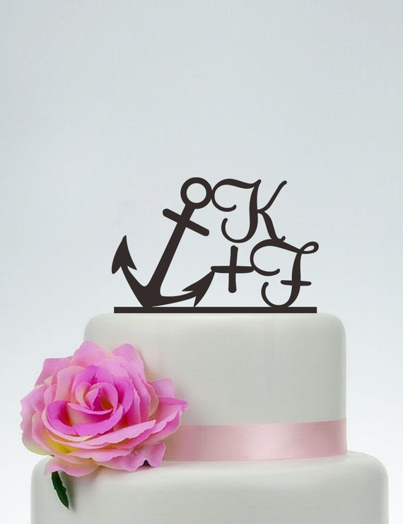 Anchor Cake Topper With InitialsCustom