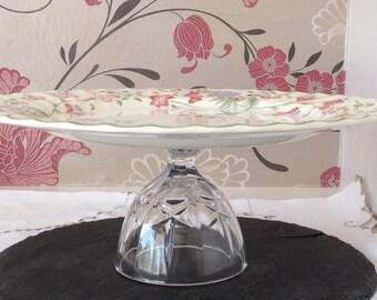 """Elegant Cake Stand/Dessert Pedestal - Pretty Floral 12 1/4"""" Plate with Vintage Crystal Base"""