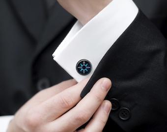Navy Blue Cufflinks Glass Suit Accessory Blue Compass Cuff links Navy Blue Cuff links Navy Blue Suit Accessory Blue Glass Suit Cufflinks