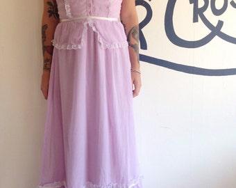 Vintage 70s Lavender Lace Maxi Dress