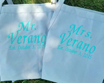 "Two Aprons--Matching set of Couple's Gift Aprons. Many colors + fonts. 24""L x 28""W professional 3 pocket full bib. His can be longer!!!"