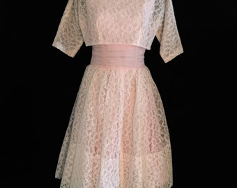 60's 2 Piece Pink Chiffon and Lace Party Dress VG76
