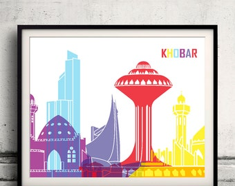 Khobar pop art skyline 8x10 in. to 12x16 in. Fine Art Print Glicee Poster Gift Illustration Pop Art Colorful Landmarks - SKU 0660