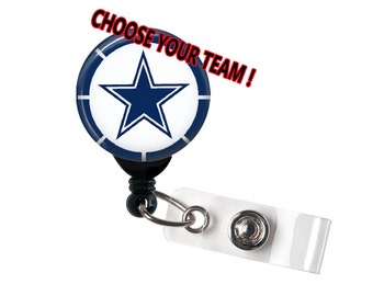 Dallas Cowboys Badge reel, ID Badge holder, retractable badge reel,NFL, Football