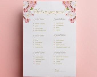 Floral bridal shower game what's in your purse printable DIY floral wedding shower digital games instant download pink flowers printable