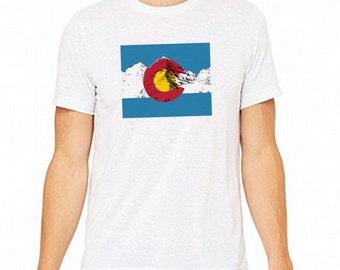 Colorado Rocky Mountain Triblend Tshirt with the Colorado Flag.