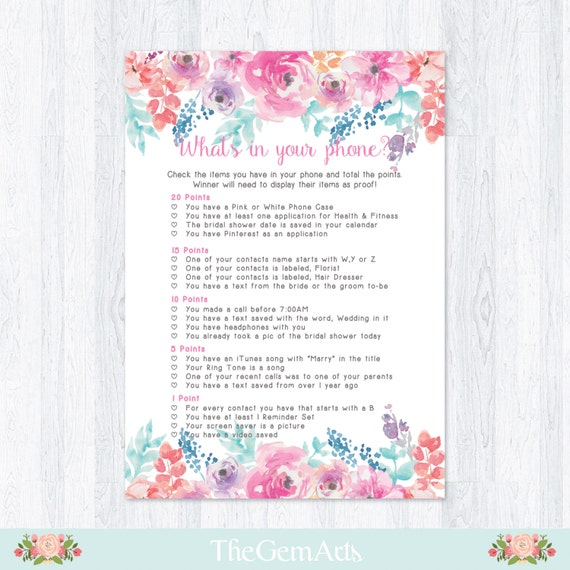 What 39 s in your phone bridal shower game floral watercolor What to buy for a bridal shower