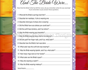 Bridal Shower Game, The Bride Wore, Memory Game, Wedding Shower, Party Game, Light Lavender, Printable, Instant Download - TFD382