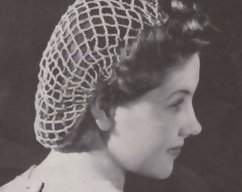 PDF Beach Net Fishnet Crochet Snood Hairnet Cap Hat Pattern Instant Download