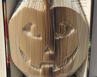 Book folding art pattern for a pumpkin