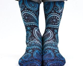 Samson® Paisley Galaxy Hand Printed Socks Sublimation Blue Flower Retro Vintage Pattern Quality Print UK