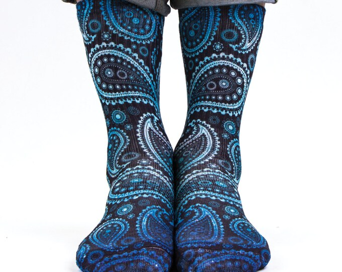 Samson® Paisley Galaxy Hand Printed Socks Sublimation Blue Flower Retro Vintage Pattern Quality Print UK