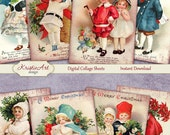 75% OFF SALE Christmas - Digital Collage Sheet Digital Cards C099 Printable Download Image Tags Digital Image Atc Cards ACEO Santa Claus