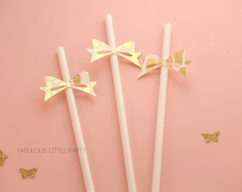 Gold Leopard Bow Straws Birthday 1st/5th/Bachelorette/Bridal/Baby Shower Dessert Table Party Decorations Kate Spade Party Decor White/Gold
