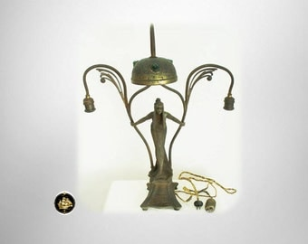 Vintage art noveau table lamp with female form - rare jewel shade