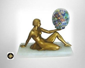 Art deco lamp with gilt girl and millefiori shade on a marble base