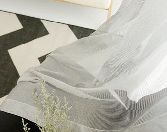 Gray Weave Sheer Voile Curtain with Silver Shimmery