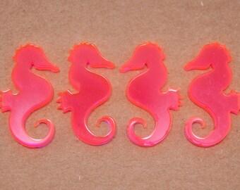 Pink Laser Cut Acrylic Seahorses 4pc