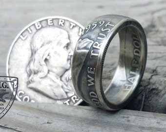 Benjamin Franklin Silver Half Dollar Coin Ring