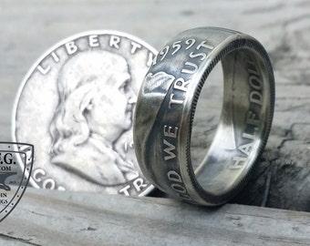 Benjamin Franklin Silver Half Dollar Coin Ring