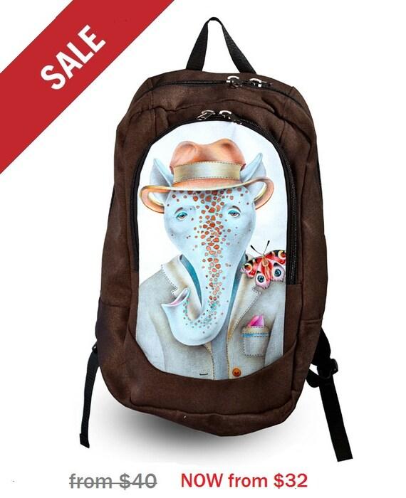 sale 20 elephant backpack print backpack canvas by xyzbag